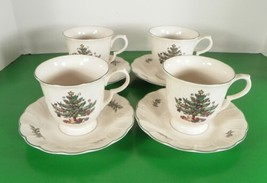 Nikko Happy Holidays Footed Cup And Saucer Set (S) Lot Of 4 Christmas Tree Blue - $24.70