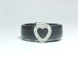 BLACK Rubber Band Style RING with STERLING PAVE Set CZ HEART - Size 6.75 - $30.00