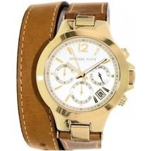 Michael Kors mid SZ peyton champagne dial luggage leather strap women watch - $326.69