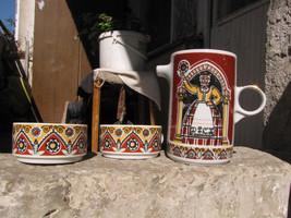 Porcelain tea coffee set  pot with 2 cups Riga Porcelain Factory soviet ... - $53.88