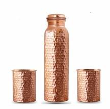 Pure Copper Bottle Tumbler Set Health Benefit Yoga Sport Joint Less & Le... - $18.37