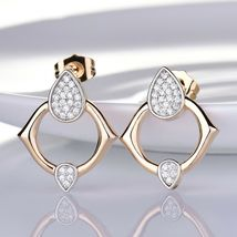 Passionate Women Sapphire Crystal Two Gold Tone Earrings Pendant Necklace Set image 2