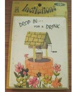 Vintage Party Invitations 1960's Mid Century Well Drop In for a Drink 10... - $7.91