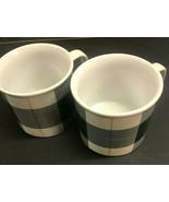 Set Of 2 Martha Stewart Collection Ceramic Tartan Plaid Mug Coffee Cup - $14.84