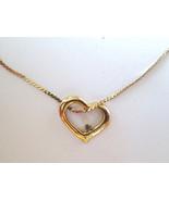 Heart Shaped Pendant & Rhinestone Gold Tone Met... - $12.86