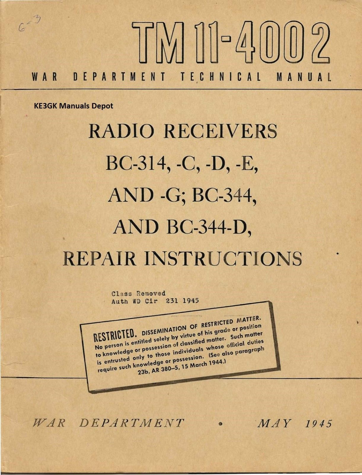 TM 11-4002 BC-314 BC-344 Military Repair Instructions Manual * CDROM