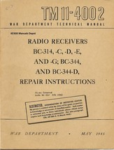 TM 11-4002 BC-314 BC-344 Military Repair Instructions Manual * CDROM - $9.99