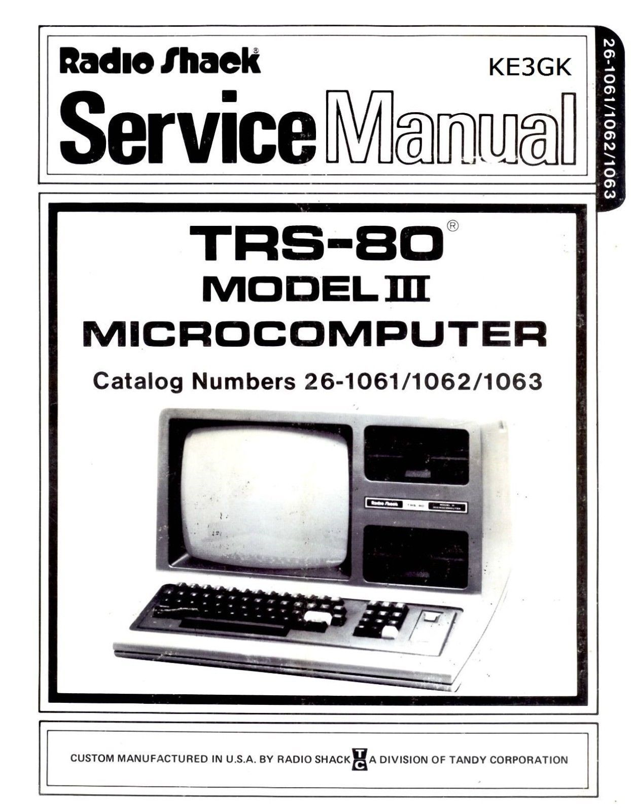 TRS-80 Model  III Service and Operation Manuals * PDF * CDROM