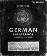 German Phrase Book * War Department 1943 * WWII * CDROM - $7.99