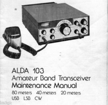 Alda 103 Ham Transceiver Maintenance Manual CD - $7.99