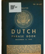 Dutch Phrase Book * War Department 1943 * CDROM - $7.99