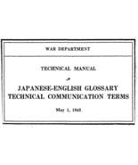 Japanese English Glossary * War Department 1943 * CDROM - $7.99