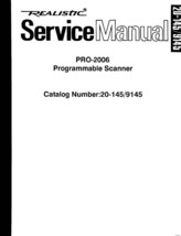 Realistic Pro-2006 Service and Owners Manual * CDROM * PDF - $8.99