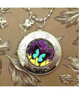 Turquoise Butterfly & Flowers Silver Poison Locket Bubble Charm, Necklace Cameo - $12.95