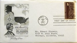 March 30, 1967 First Day of Issue, Artmaster Cover, Alaska Purchase Air ... - $2.78