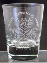 Glass Double old fashioned cocktail deep etched with Celtic Shamrock St ... - $12.19
