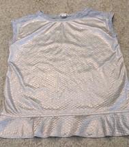 Girl's Crewcuts Cotton Blend Sleeveless Silver Lame /Gray Top (6-7) - $7.25