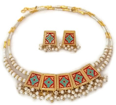 Indian Bridal Necklace Gold Plated Reversible Red Blue Maroon Pearl Jewelry 2S - $15.19
