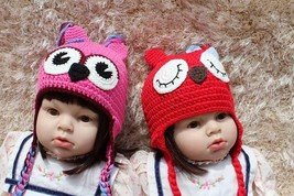 Knit Crochet Newborn Baby Child Kids Pink Red Owl Twins Hat Cap Beanie 2... - $12.99