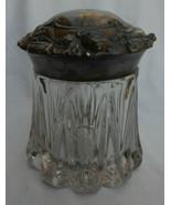 Antique Art Nouveau Glass Tobacco Cigar Humidor Jar Metal Flower Lid Emb... - £147.56 GBP