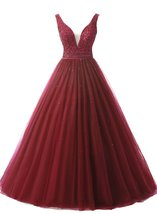 Cheap Long Tulle Prom Dresses Beaded Formal Evening Dress Party Dress Cu... - $136.00