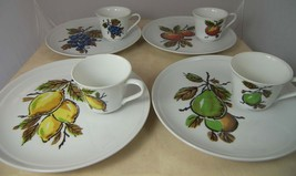 4 Vintage Shafford Fruit Fantasy Luncheon Plates & Cups Grapes Apple Lem... - $21.76