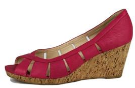 Nine west jumbalia woman pink leather peep toe cork wedge pump sz 10.5m - $17.52