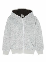 BOCINI Boy's Marled Heather Grey Sherpa lined Front Zip Hoodie XL (14/16)
