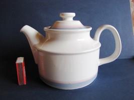 Vintage Norwegian Norway FIGGJO COURMET Tea Pot white blue Vitro-porselen  - $48.00
