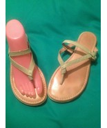 WOMEN'S NUTURE 8M MINT GREEN THONG PATENT LEATHER COMFORT SOLES SANDALS ... - $24.39