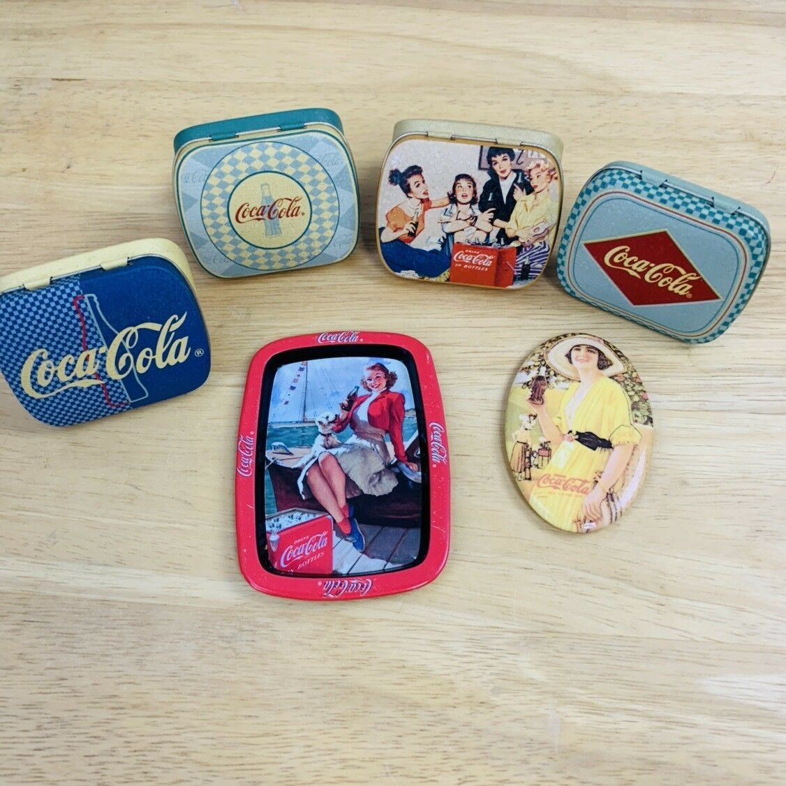Primary image for Lot Of 6 Coca Cola Collectible Mini Tins, Tray, Lipstick Mirror #0332