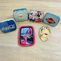 Lot Of 6 Coca Cola Collectible Mini Tins, Tray, Lipstick Mirror #0332 - $12.99