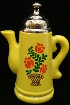 Avon Koffee Klatch Decanter Bottle Yellow Coffee Pot Floral Vintage 1970... - $6.92