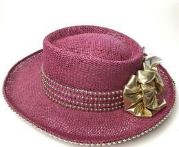 Vintage 80s Western Straw Hat Pink Summer Sun Church Cowboy Women Beach - $61.19
