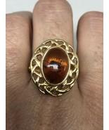 Vintage amber Ring Golden 925 Sterling Silver Size 9.25 - $51.48