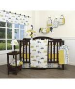 Yellow Gray Trucks Cars 13 pc Crib Bed Set Baby Boy Nursery Quilt Bumper... - $158.30