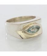 Blue Beryl Aquamarine Handmade Sterling Silver Unisex Gents Ladies Ring ... - £73.63 GBP