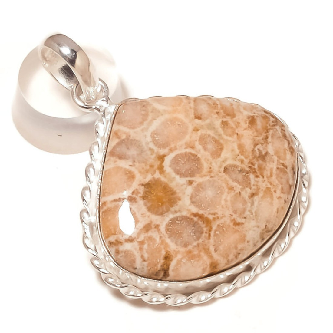 Fossil Coral Natural Gemstone 925Silver Overlay Handmade Rope Bezel Drop Pendant - $11.99