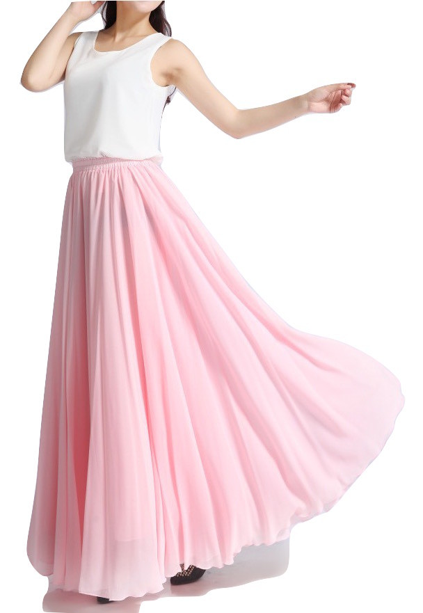 Pink MAXI CHIFFON SKIRT Women High Waisted Chiffon Maxi Skirt Plus Size