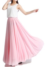 Pink MAXI CHIFFON SKIRT Women High Waisted Chiffon Maxi Skirt Plus Size image 1