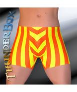 Thunderbox Nylon Spandex Mens Orange & Yellow Stripe Titan Pouch Shorts ... - $25.00
