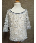 HI-LO TOP White Silver LACE Sheer Mesh Net DOLMAN M Medium FULL TILT Til... - $19.24
