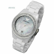 New Emporio Armani White Ceramica Mother of Pearl Dial Women's Watch AR1426 - $233.74