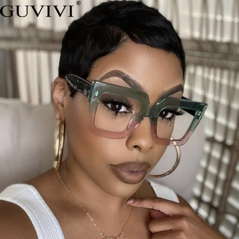 Women trending styles oversized fashion computer glasses brand designer eyeglasses eyewear uv400