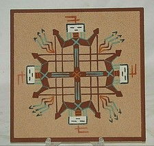 Native American Navajo Artisan Sand Painting Wall Art Whirling Yeis Tsos... - $39.59