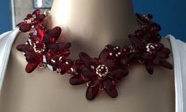 Vintage Large Ornate Estate Necklace Red Floral Plastic Crystals Holiday... - $31.16