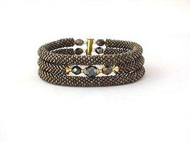 Triple bead crochet rope bracelet with glass, brown stackable bracelet f... - $22.00