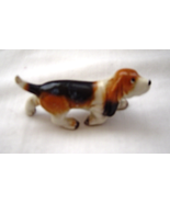 Vintage Miniature Basset Hound Walking Porcelain Figure - $12.95