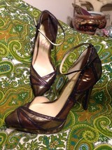 JESSICA SIMPSON VINDIE 8M METALLIC GOLD/COPPER ANKLE STRAP HEELS PUMPS M... - $29.69