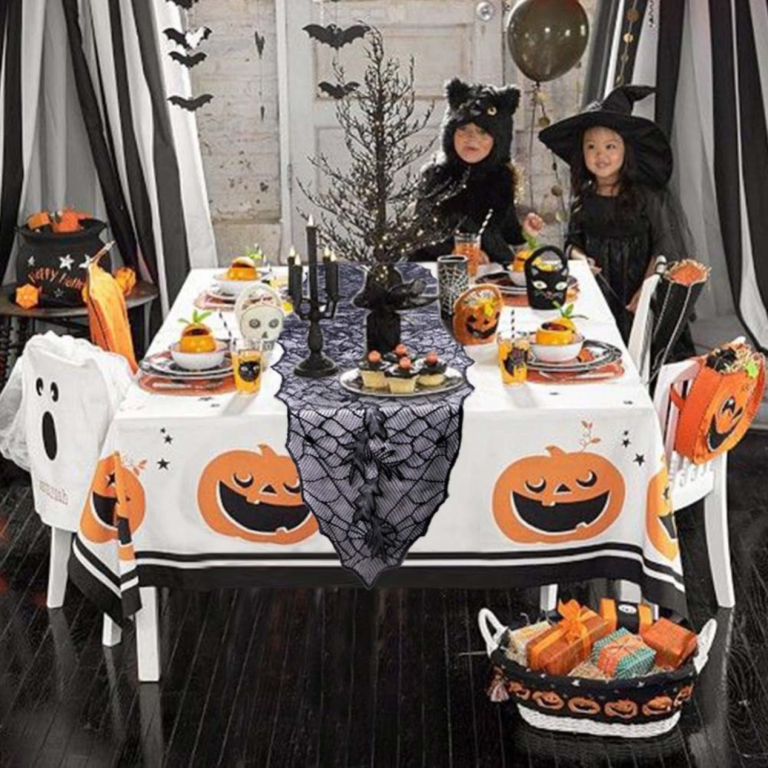 Halloween Party Decor Black Leaf Table Cover 188*55cm Tablecloth Soft Lace Cloth
